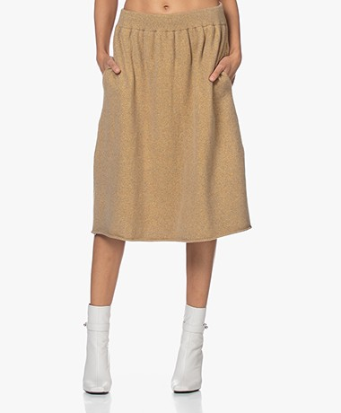 extreme cashmere N°159 Fifty Cashmere Blend Skirt - Gold Lurex