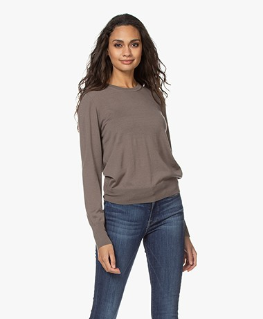 Filippa K Merino R-neck Sweater - Dark Taupe