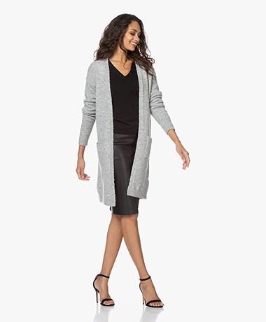 by-bar Nisa Mid Length Open Cardigan - Light Grey