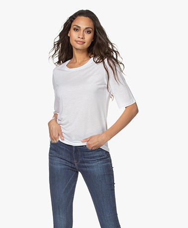 Filippa K Elena Tencel Halflange Mouwen T-shirt - Wit