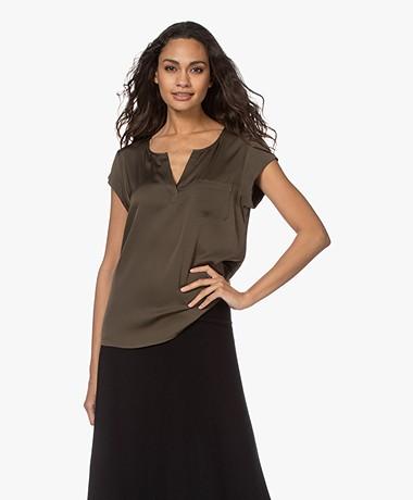 Repeat Silk Cap Sleeve Blouse - Khaki