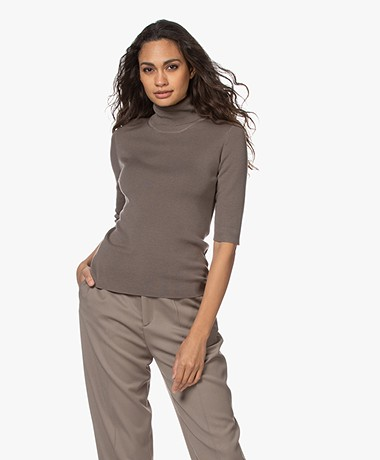 Filippa K Merino Elbow Sleeve Sweater - Dark Taupe