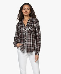 Rails Hunter Checkered Blouse with Lurex - Midnight/Blush/Ivory