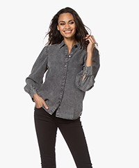 Rails Angelica Tencel Denim Blouse - Acid Wash Black