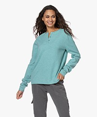 extreme cashmere N°157 Be Grateful Henley Sweater - Cosmo