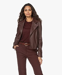 Drykorn Paisly Leather Biker Jacket - Bitter Chocolate