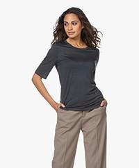 Filippa K Elena Tencel Elbow-length Sleeve T-shirt - Pacific