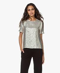 Rag & Bone Gia Sequin Short Sleeve Blouse - Silver