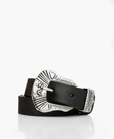 Zadig & Voltaire Alton Western Leather Belt - Black