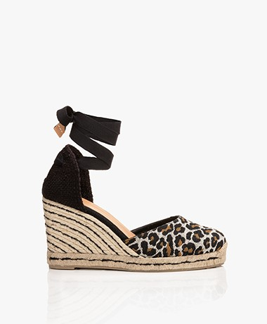 Castaner Carina Leopard Canvas Wedge Espadrilles - Black