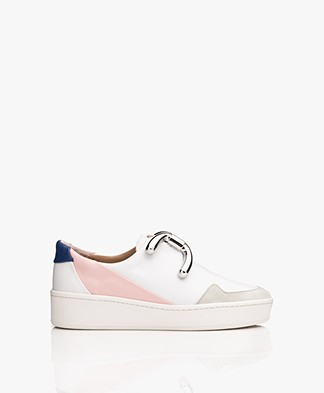 An Hour And A Shower Knot Camp Slip-on Sneakers - White/Blue/Pink/Silver
