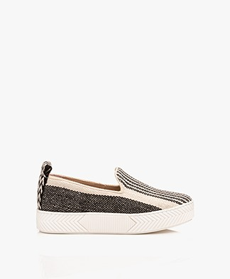 An Hour And A Shower Zigsouk Striped Slip-on Sneakers - Black/Off-white