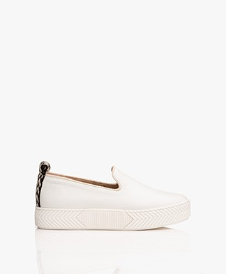 An Hour And A Shower Zigsouk Leather Slip-on Sneakers - White