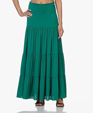 LaDress Jourdan Crepe de Chine Tiered Skirt - Green