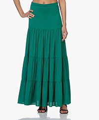 LaDress Jourdan Crepe de Chine Tiered Skirt - Green