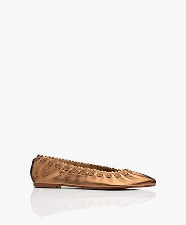 See by Chloé Jane Leather Ballet Flats - Bronze Metallic