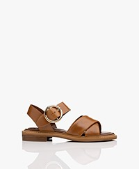 See by Chloé Lyna Calf Skin Sandals - Camel Brown