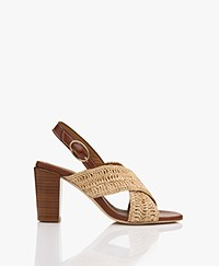 Vanessa Bruno Leather Raffia Sandals with Heel - Naturel