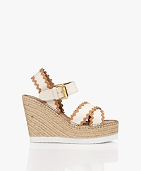 See by Chloé Calf Skin Wedge Espadrilles - Cream