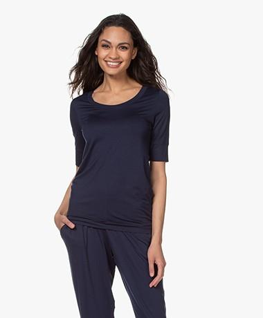 HANRO Yoga Modal Jersey Scoop T-shirt - Deep Navy