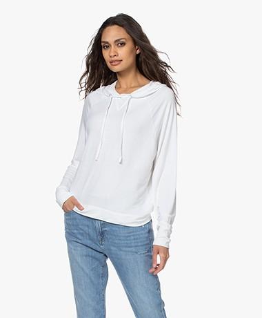 Majestic Filatures Viscose Hooded Sweater - White