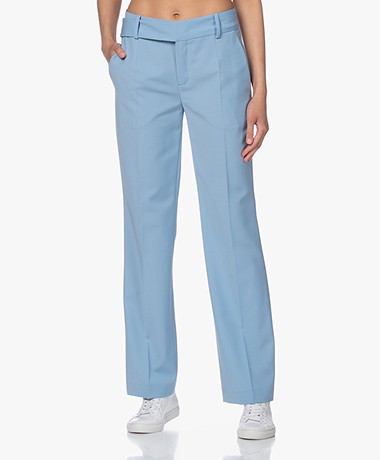 Drykorn Count Straight Wool Blend Pants - Light Blue