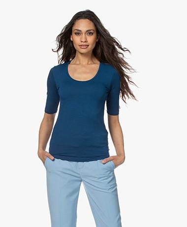 Majestic Filatures Soft Touch Ronde Hals T-shirt - Blauw