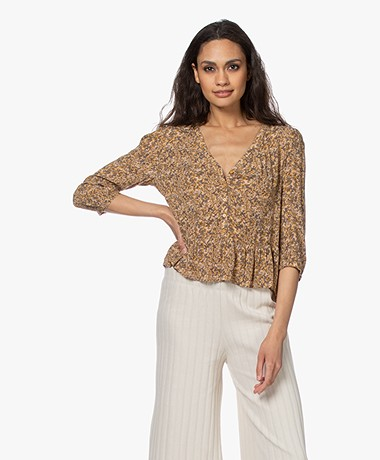 ba&sh Nelly Printed Viscose Blouse - Ochre
