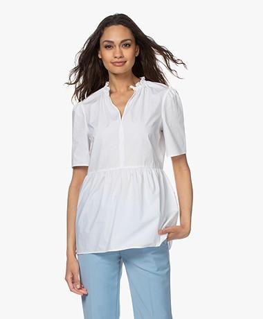 By Malene Birger Cristaria Peplum Short Sleeve Blouse - Pure White