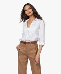 Belluna Afternoon Cropped Sleeve Linen Blouse - White