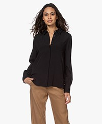 Repeat Viscose Crêpe Blouse - Zwart
