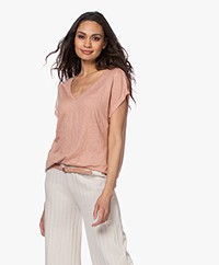 Majestic Filatures Linen V-neck T-shirt - Tan