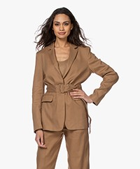 Closed Alix Lyocell-Linen Blazer with Belt - Golden Oak