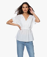 By Malene Birger Catja Muslin Blouse with Ruffled Sleeves - White