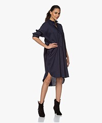 Woman by Earn Wies Stretch Linen Blend Shirt Dress - Navy