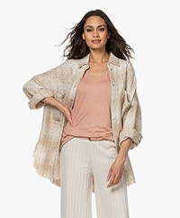 IRO Glenac Oversized Jacquard Shirt with Sequins - Beige/Off-white