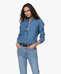 no man's land Katoenen Denim Blouse - Middenblauw