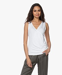 no man's land V-neck Wrap Top - White