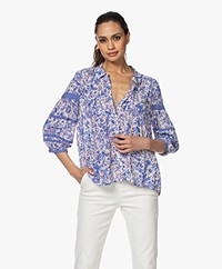 ba&sh Brooklyn Viscose Bloemenprint Blouse - Blauw