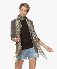 Repeat Modal and Silk Print Scarf - Pepper