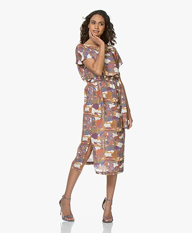 Drykorn Odelia Viscose Printed Midi Dress - Terracotta Pink