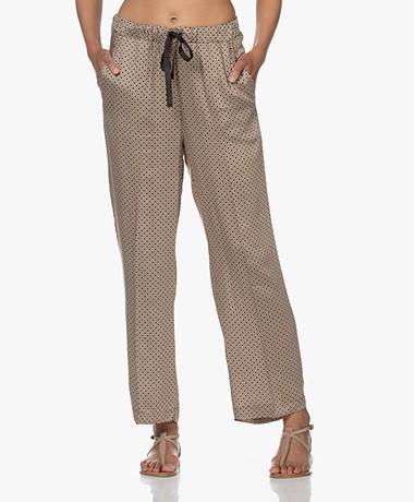 Plein Publique La Chica Satin Pants with Print - Brown/White/Black