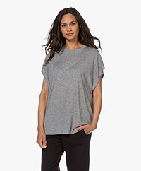 IRO Coala Viscose- en Zijdemix T-shirt - Grijs Mêlee