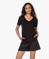 Majestic Filatures Viscose Soft Touch V-neck T-shirt - Black