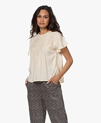 indi & cold Short Sleeve Embroidered Blouse - Rosa Nude