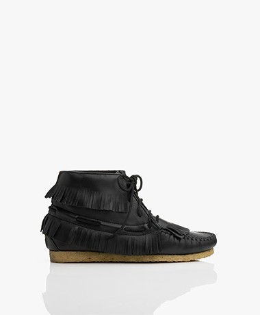 Jerome Dreyfuss Dakota Leather Moccasin Ankle Boots - Black