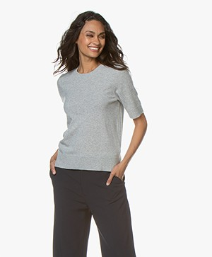 Repeat Luxury Short Sleeve Cashmere Pullover - Light Grey Melange