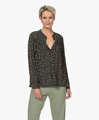 indi & cold Floral Print Blouse with Puff Sleeves - Black