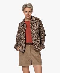 KYRA Amy Short Leopard Print Jacket - Coffee Bean