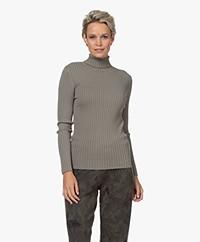 indi & cold Viscose Blend Ribbed Turtleneck Sweater - Khaki